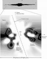 Море Локуса. Трёхмерная проекция. Сечение в плоскости перпендикулярной галактическому диску.