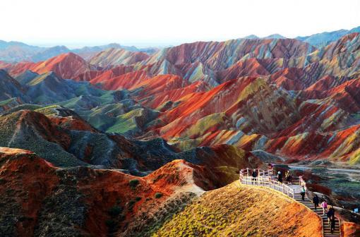Ландшафт Дэнксия (цветные горы) в городе Чжанъе, Китай